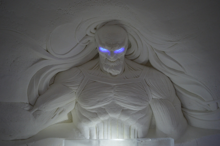Een kamer in het ijshotel in White Walker thema
